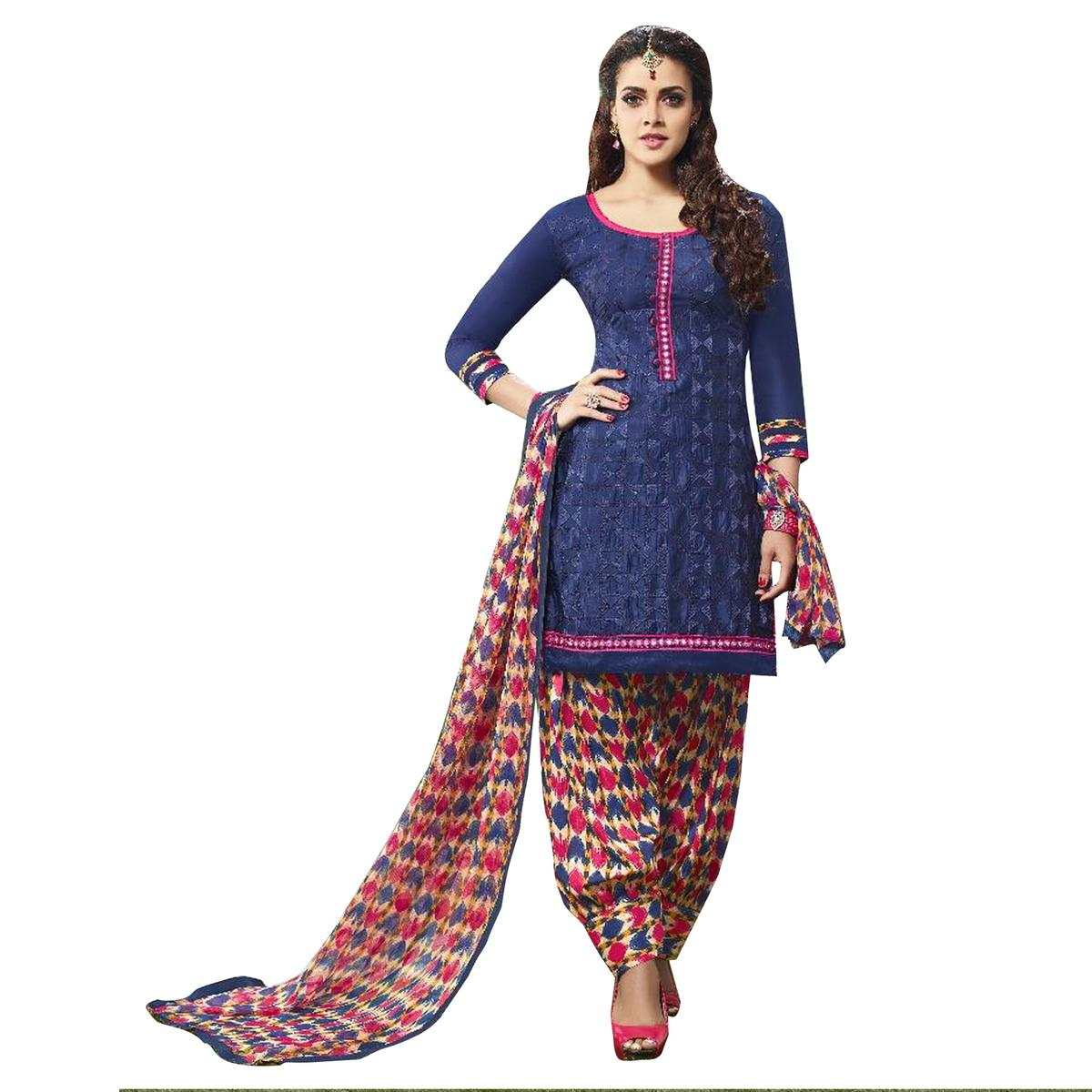 Impressive Navy Blue  Colored Embroidered Cotton Dress Material