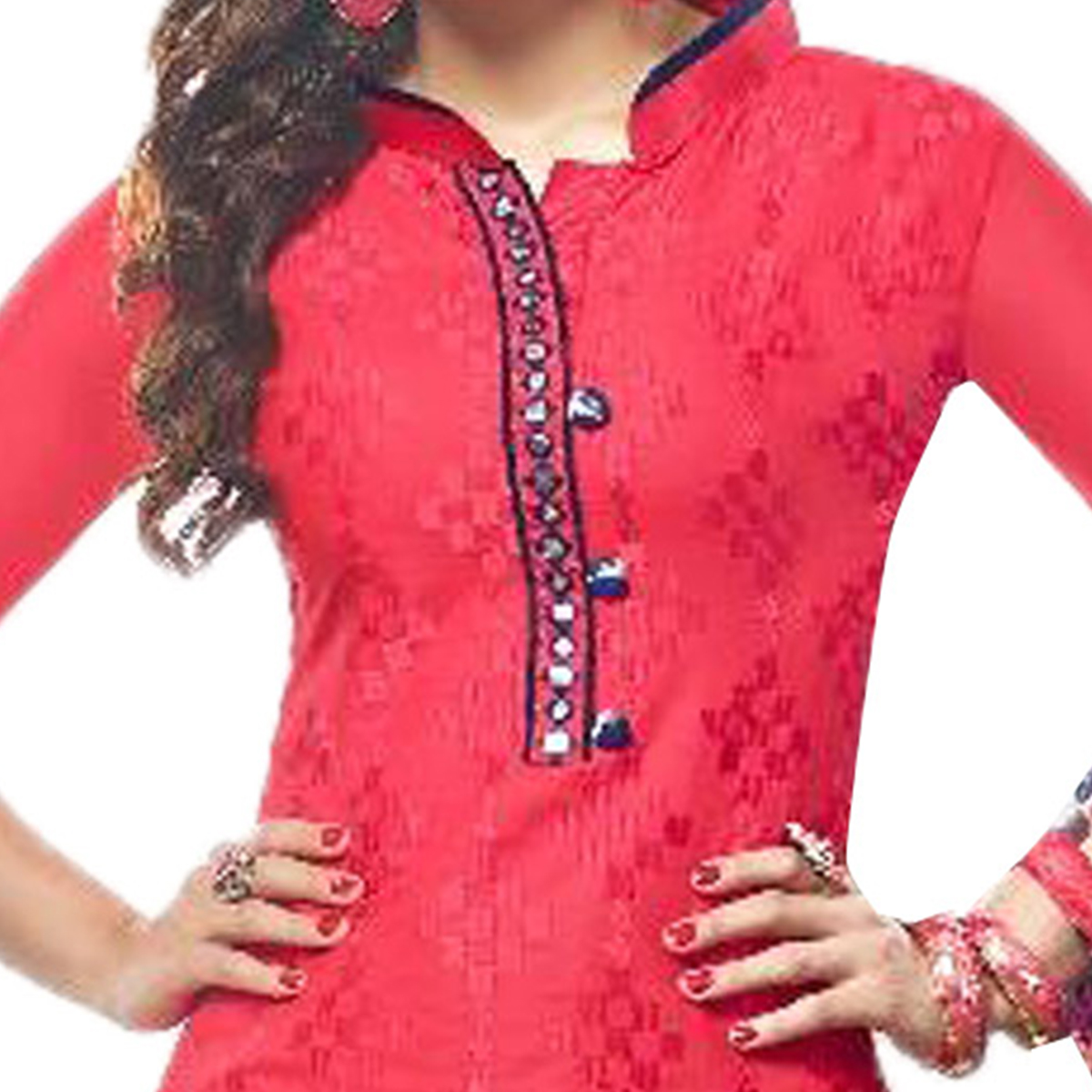 Amazing Pink  Colored Embroidered Cotton Dress Material