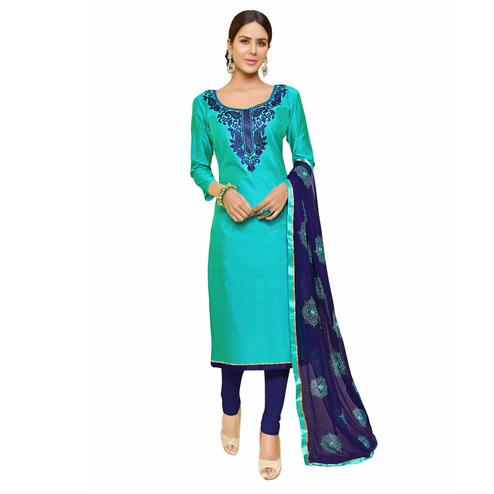 Blooming Aqua Green Colored Embroidered Chanderi Cotton Dress Material