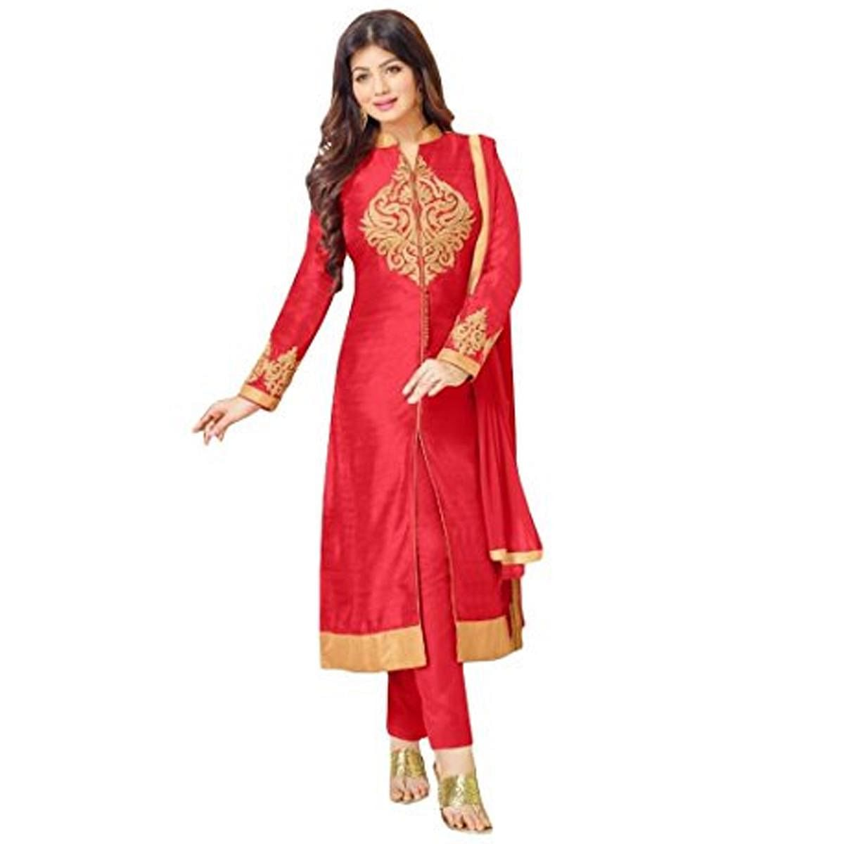 Arresting Red Colored Designer Embroidered Cambric Dress Material