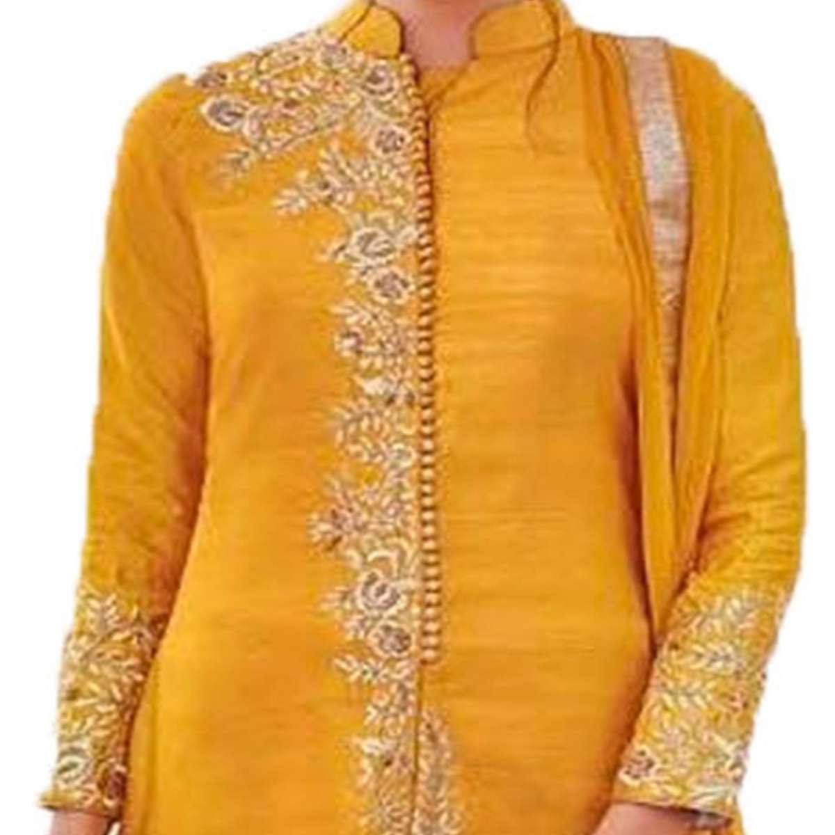 Opulent Yellow Colored Designer Embroidered Bhagalpuri Dress Material