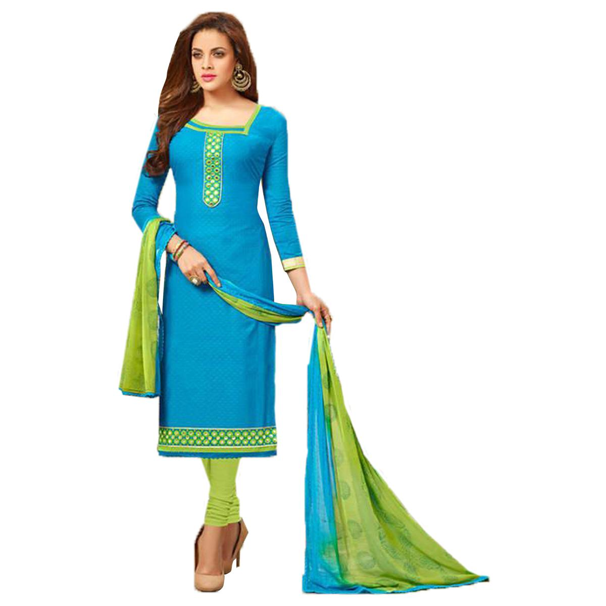 Elegant Sky Blue Colored Designer Cambric Dress Material