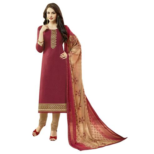 Adorning Brown Colored Designer Cambric Dress Material