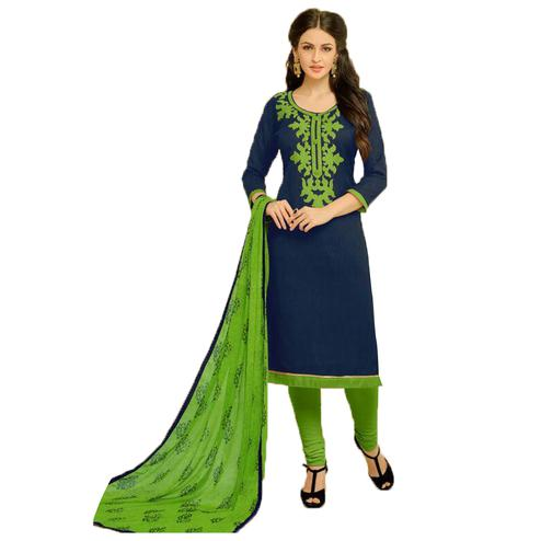 Excellent Navy Blue Colored Embroidered Jacquard Dress Material