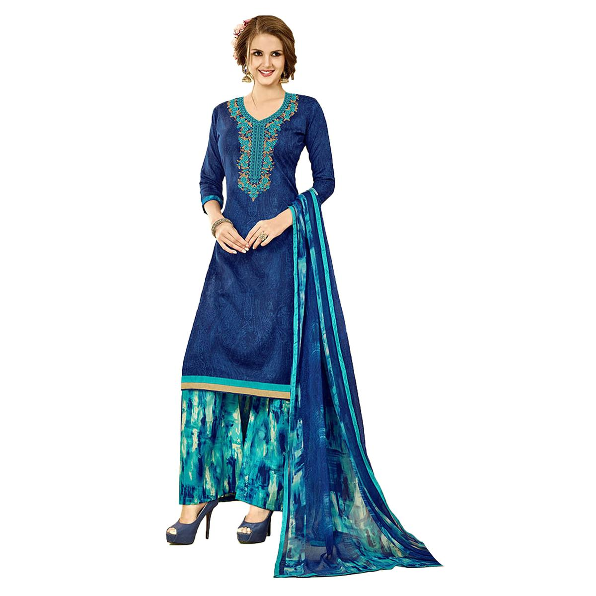 Staring Blue Colored Embroidered Cambric Dress Material