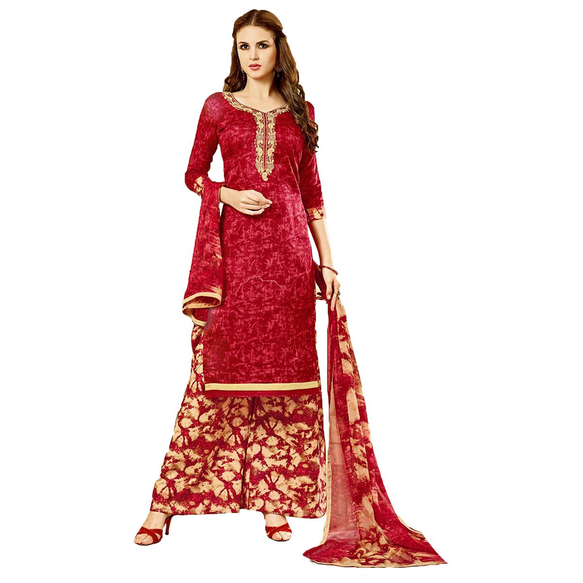 Ideal Red Colored Embroidered Cambric Dress Material