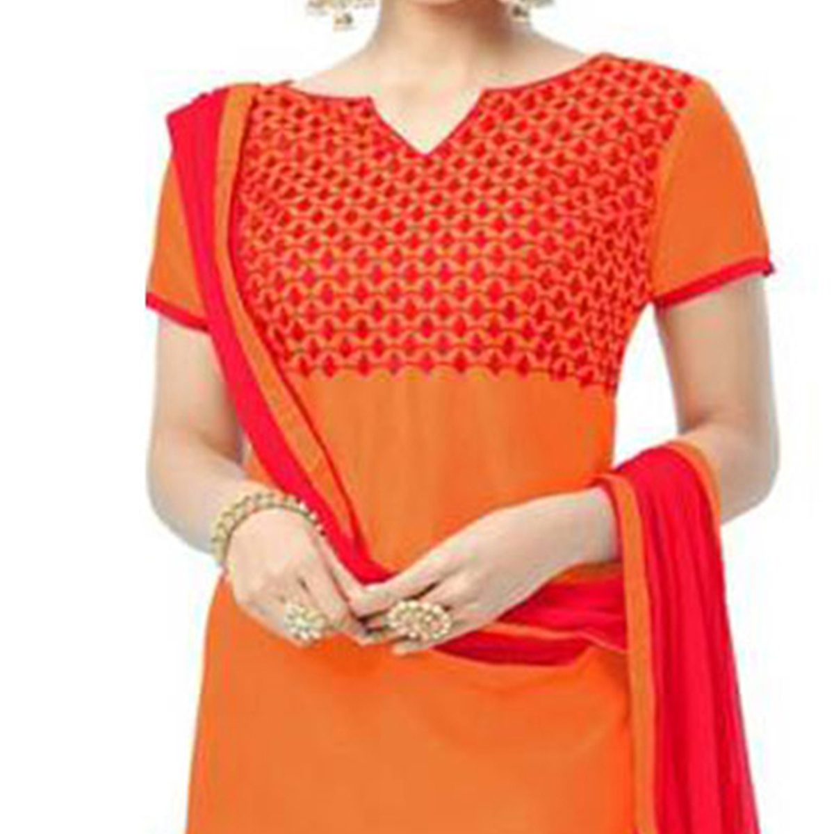 Radiant Orange Colored Embroidered Chanderi Dress Material