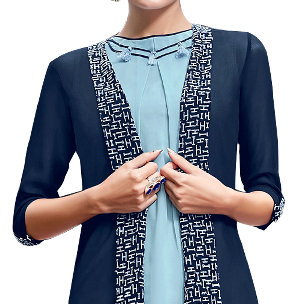 Blooming Blue Colored Party Wear Embroidered Georgette Kurti