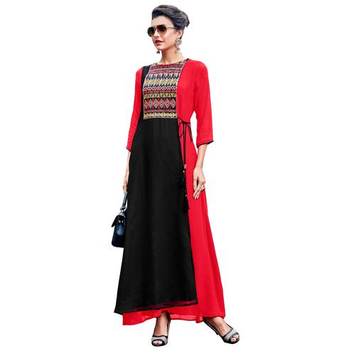 Radiant Red Colored Party Wear Embroidered Georgette Kurti