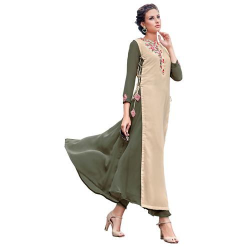 Classic Olive Green-Cream Colored Party Wear Embroidered Georgette Kurti