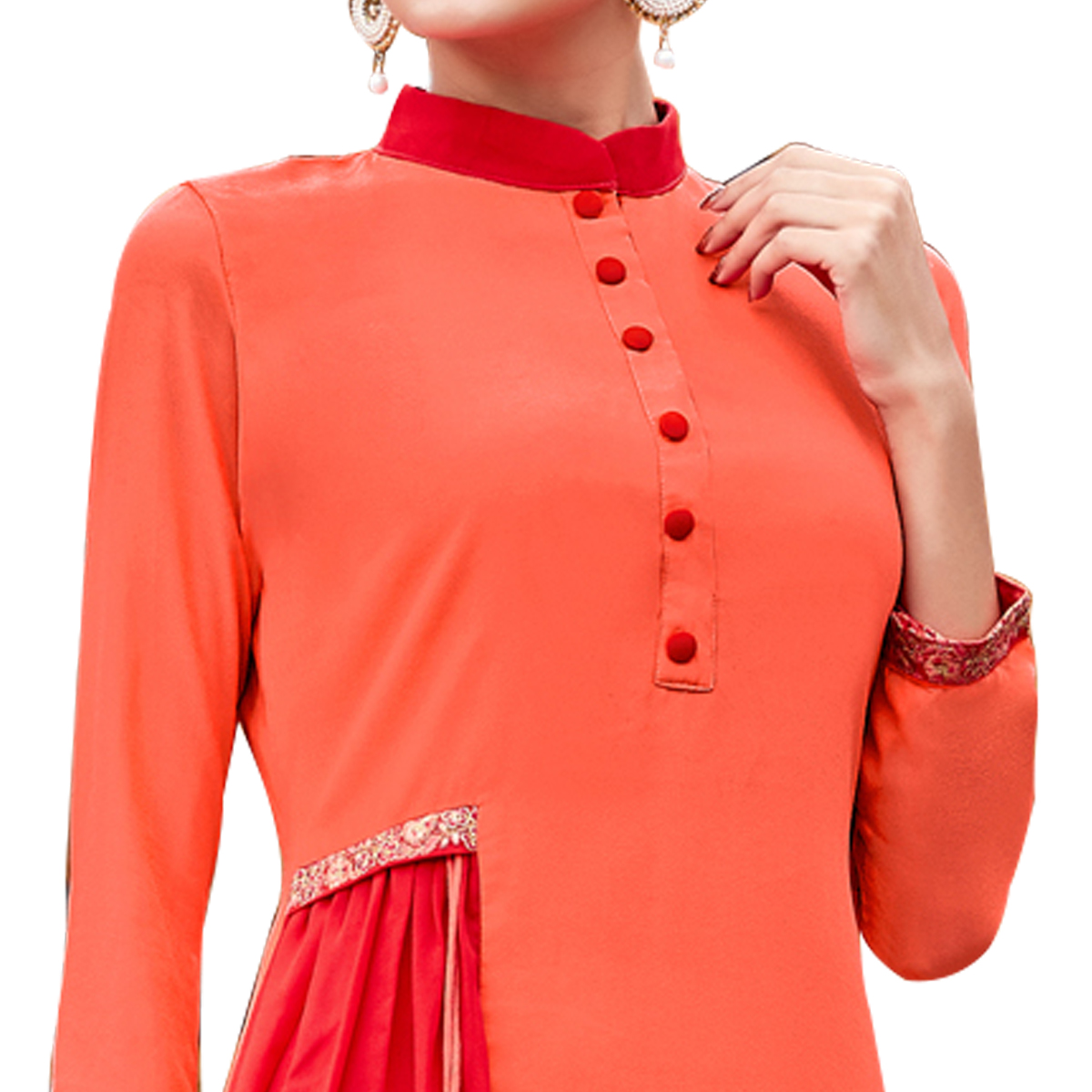 Glaring Orange Colored Party Wear Embroidered Georgette Kurti