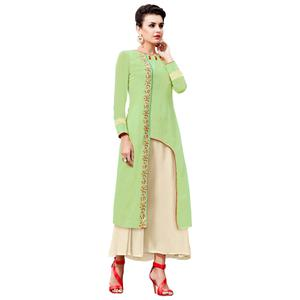 Rejuvenating Green Colored Party Wear Embroidered Georgette Kurti