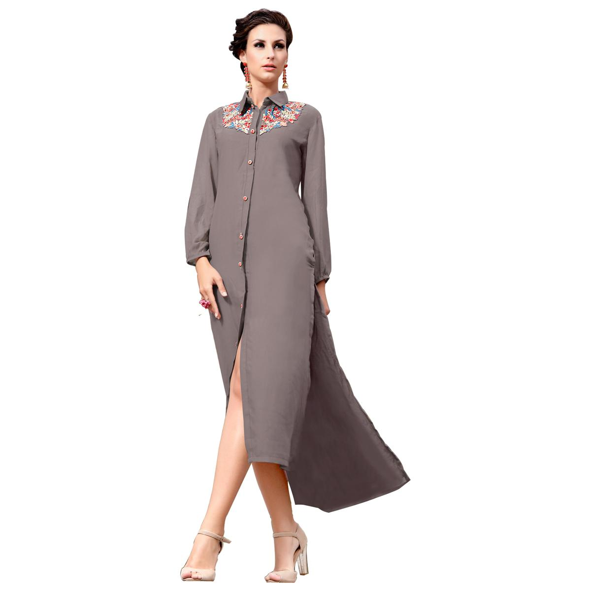 Graceful Grey Colored Party Wear Embroidered Georgette Kurti