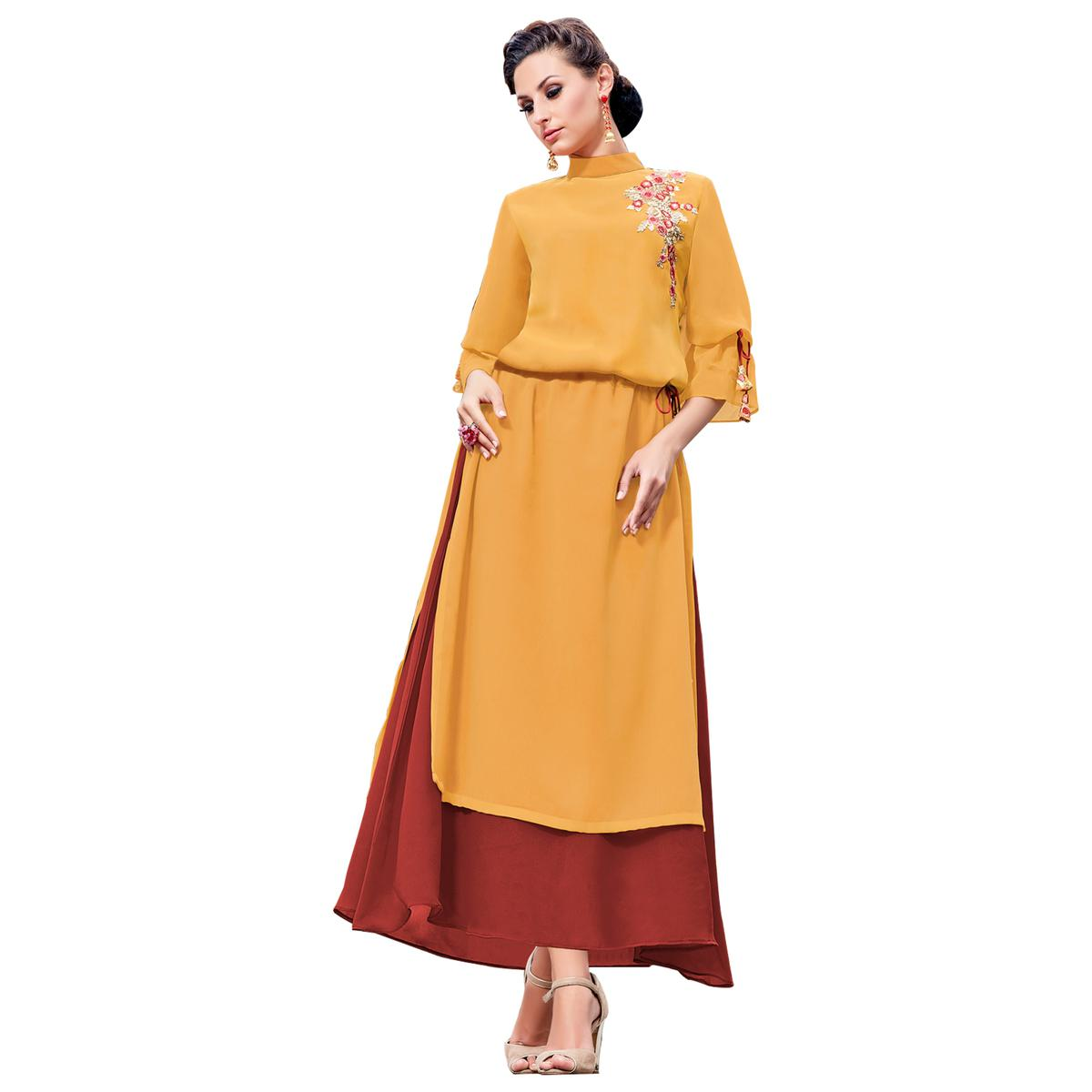 Glowing Yellow Colored Party Wear Embroidered Georgette Kurti