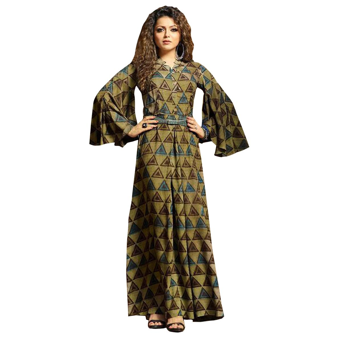 Amazing Khaki Colored Partywear Digital Printed Rayon Long Kurti