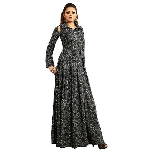 Trendy Dark Gray Colored Partywear Digital Printed Rayon Long Kurti