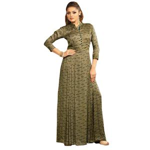 Exceptional Olive Green Colored Partywear Digital Printed Rayon Long Kurti