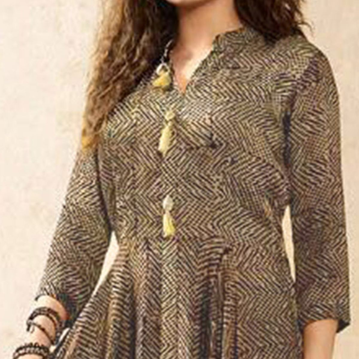Stylish Chiku Colored Partywear Digital Printed Rayon Long Kurti