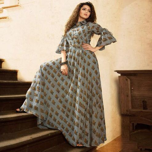 Majestic Pastel Blue Colored Partywear Digital Printed Rayon Long Kurti