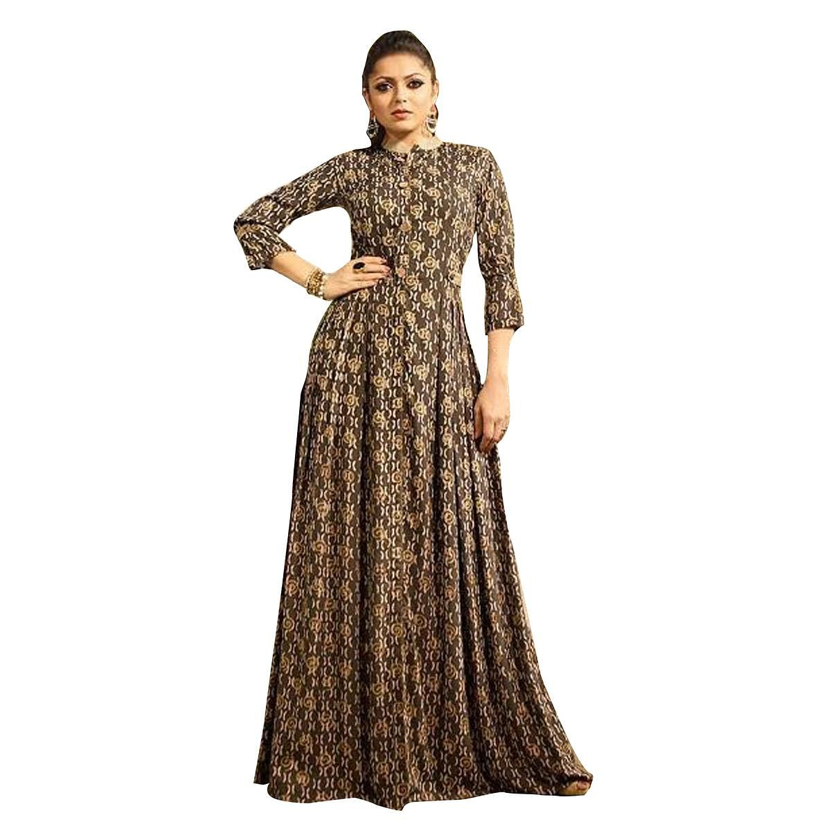 Attractive Brown Colored Partywear Digital Printed Rayon Long Kurti