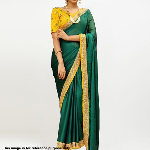 Marvellous Green Colored Partywear Embroidered Zoya Silk Saree