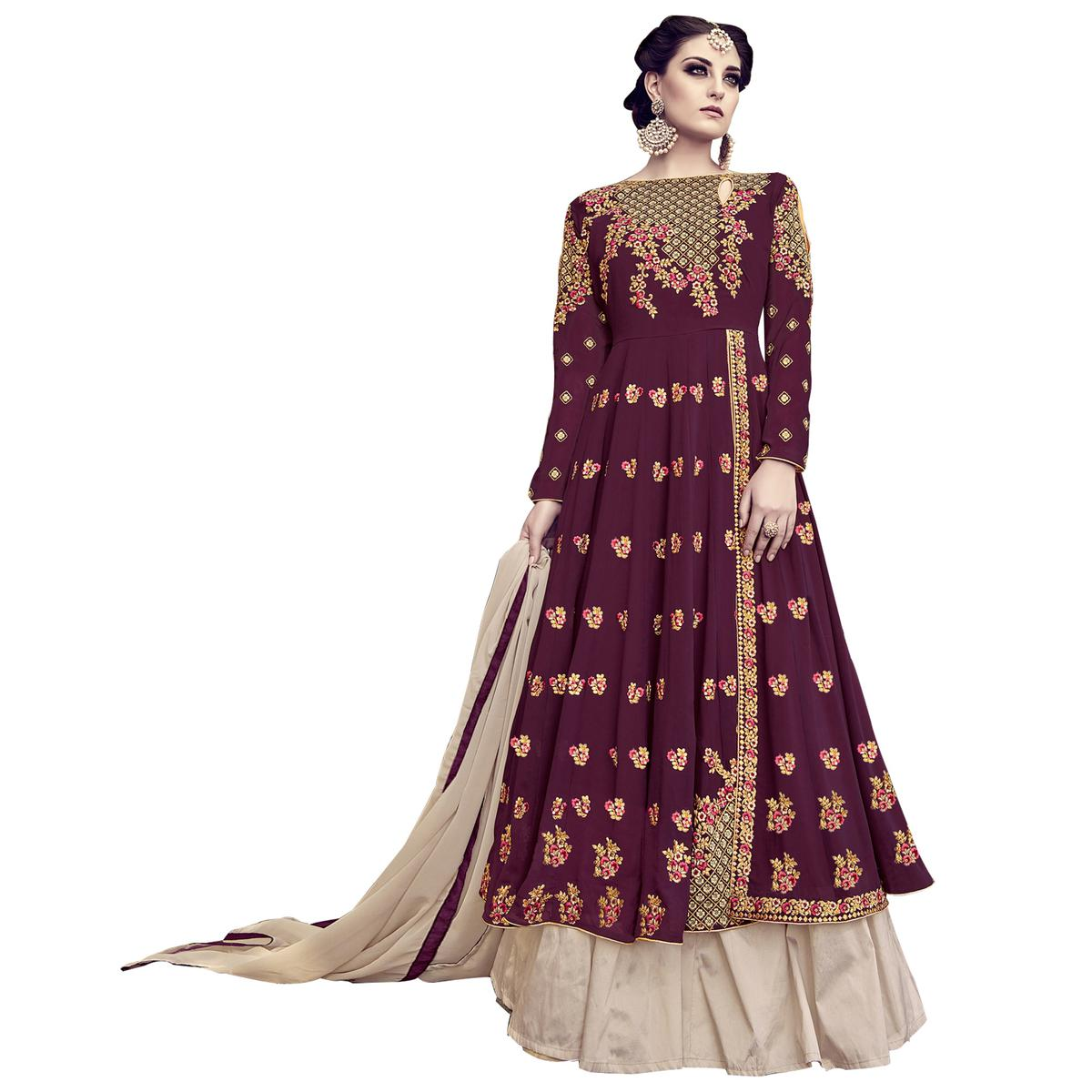 Exceptional Wine Colored Partywear Embroidered Georgette Lehenga Kameez