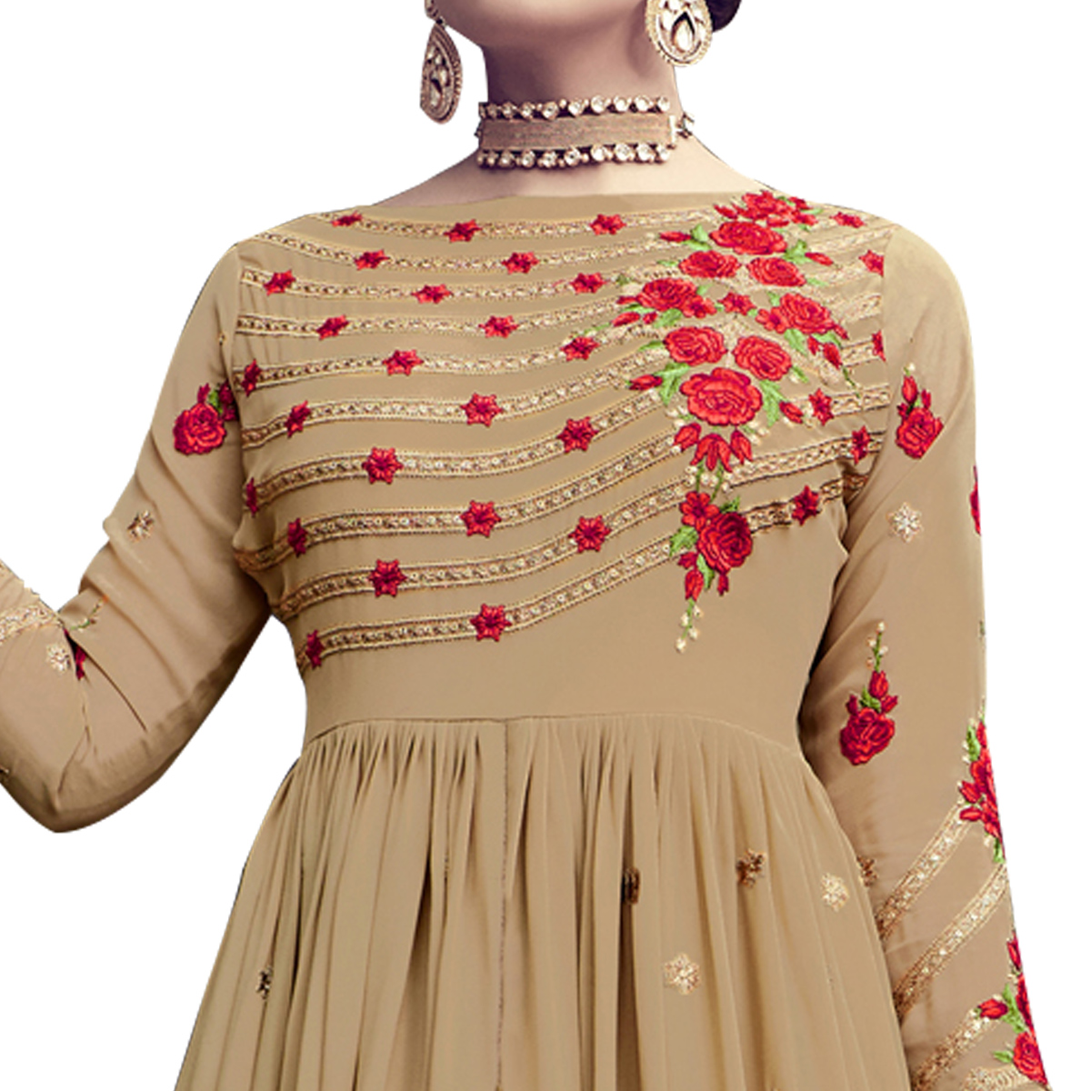 Stylish Beige-Red Colored Partywear Embroidered Georgette Lehenga Kameez