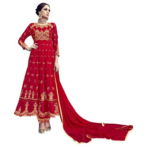 Glowing Red Colored Partywear Embroidered Georgette Anarkali Suit