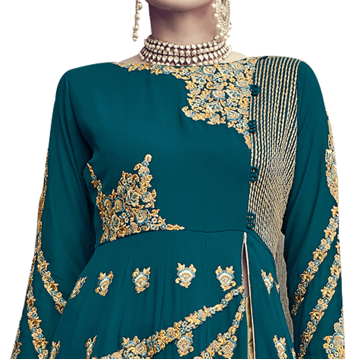 Mesmerising Teal Blue-Beige Colored Partywear Embroidered Georgette Lehenga Kameez