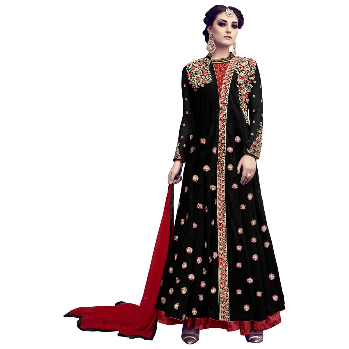 Beautiful Black Colored Partywear Embroidered Georgette Lehenga Kameez
