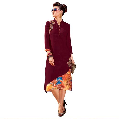 Stylish Maroon Colored Party Wear Embroidered Georgette Kurti