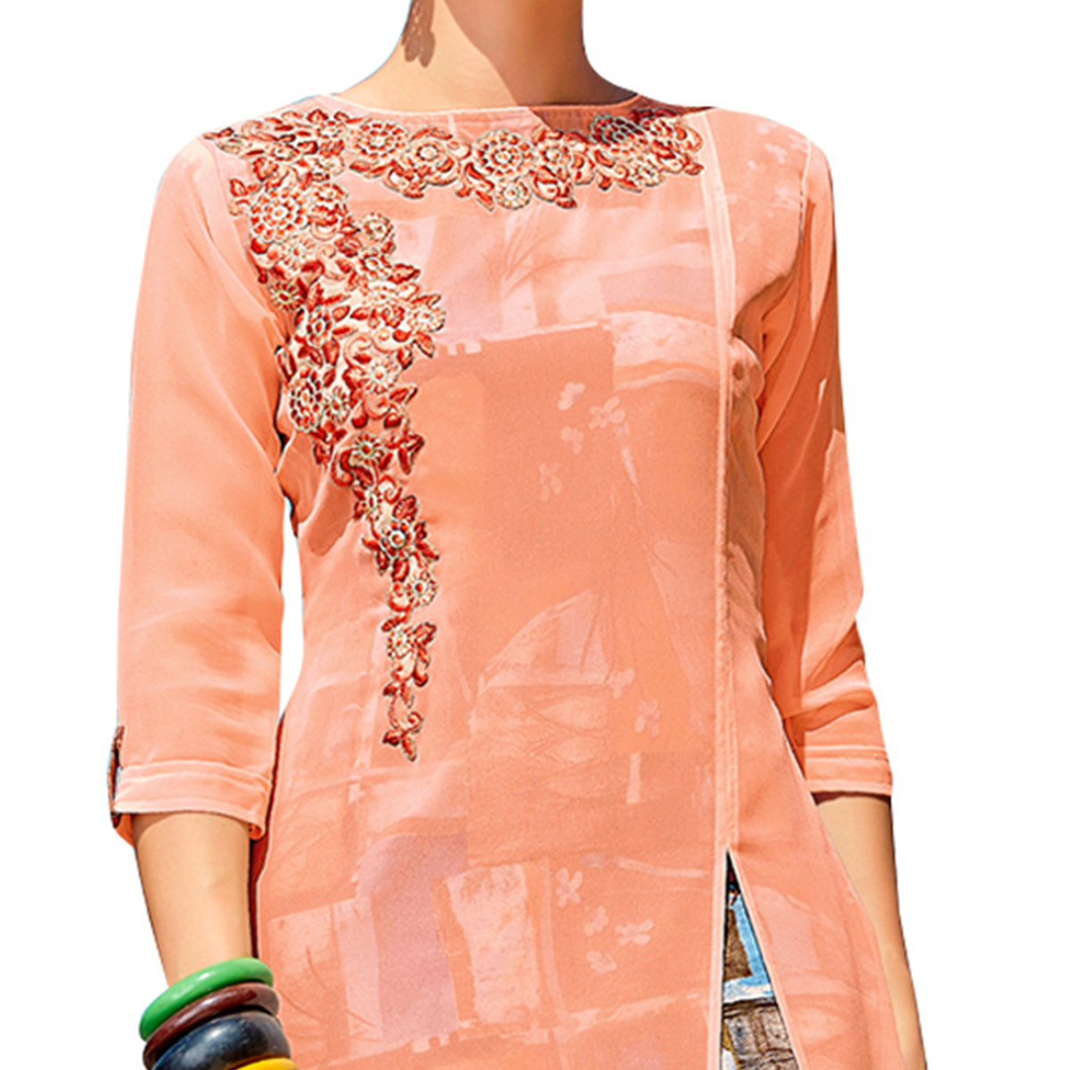 Playful Peach Colored Party Wear Embroidered Georgette Kurti