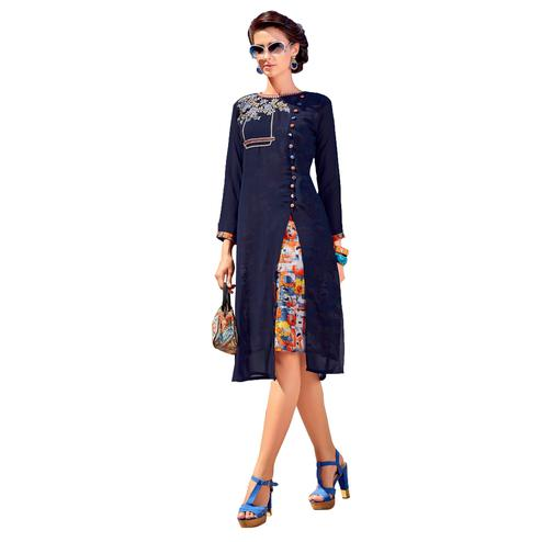 Bold Blue Colored Party Wear Embroidered Georgette Kurti