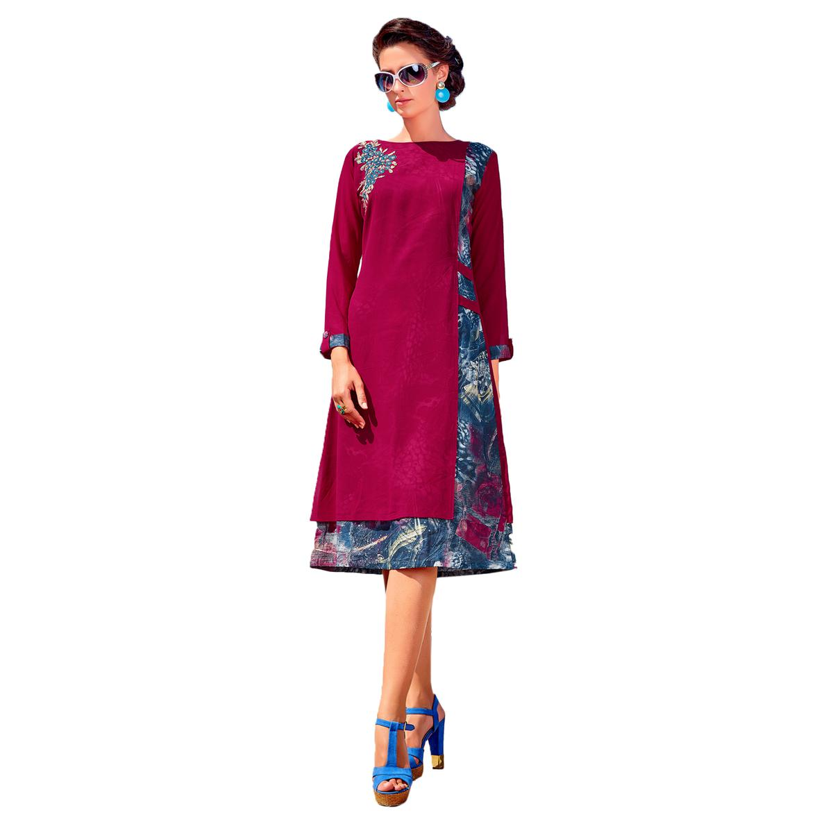 Charming Pink Colored Party Wear Embroidered Georgette Kurti