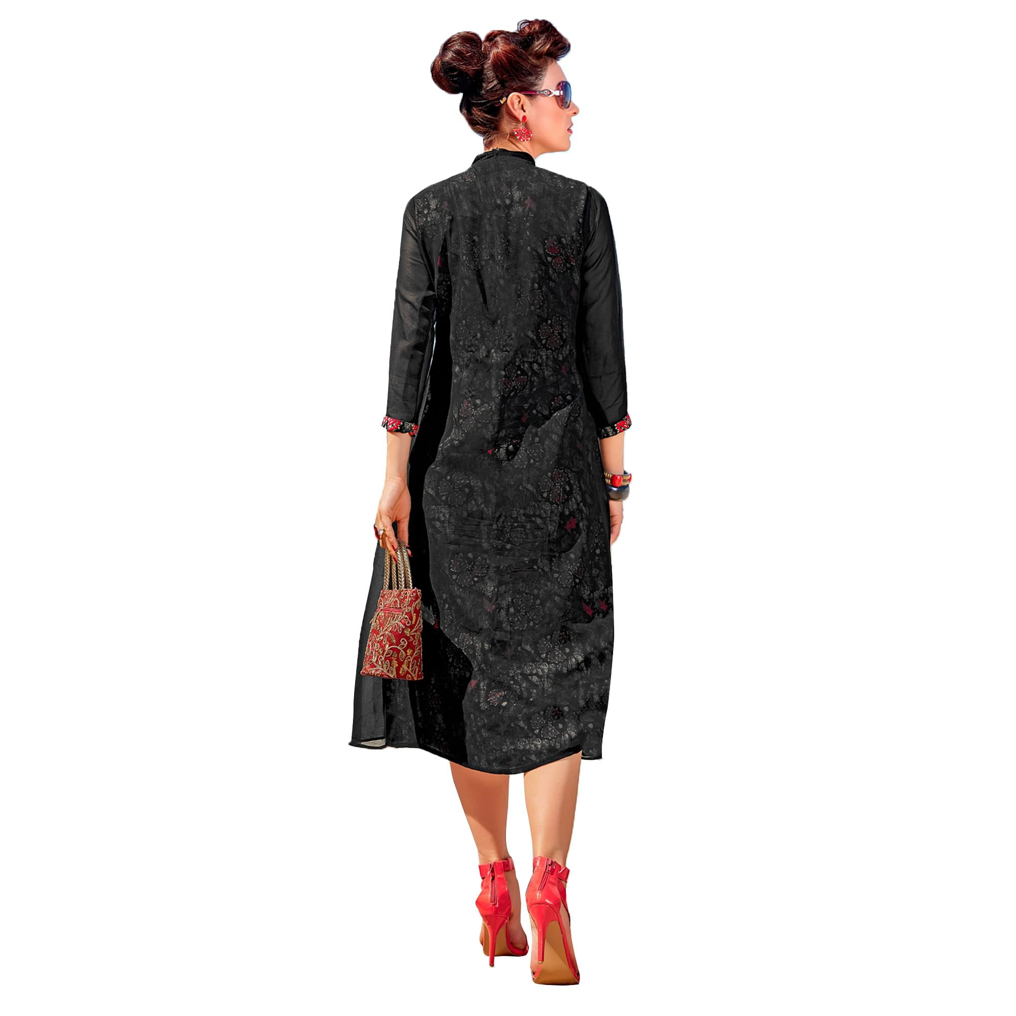 Magical Black Colored Party Wear Embroidered Georgette Kurti.