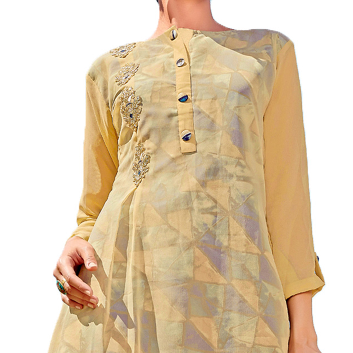 Classic Cream Colored Party Wear Embroidered Georgette Kurti.