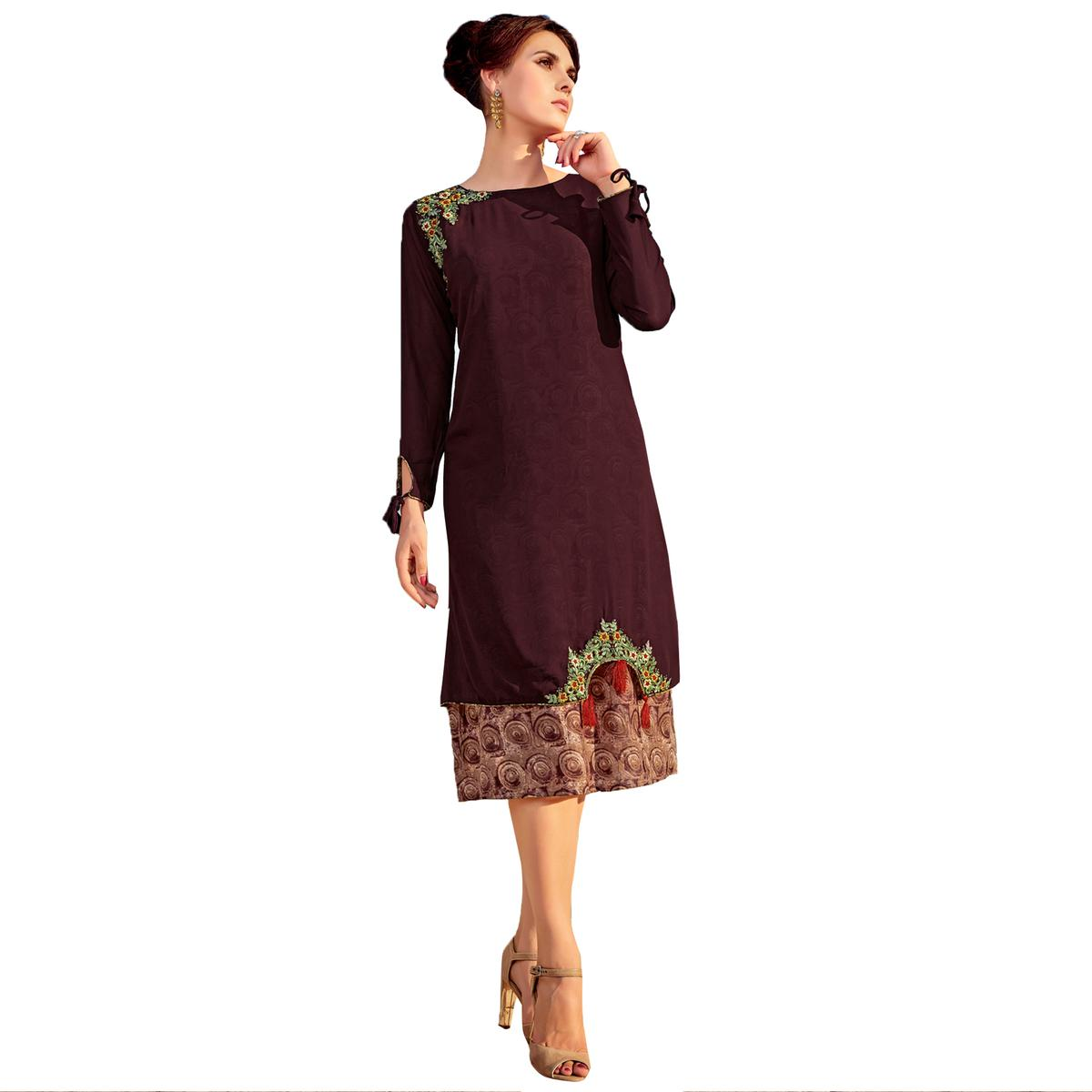 Mystic Brown Colored Party  Wear Embroidered Georgette Kurti.