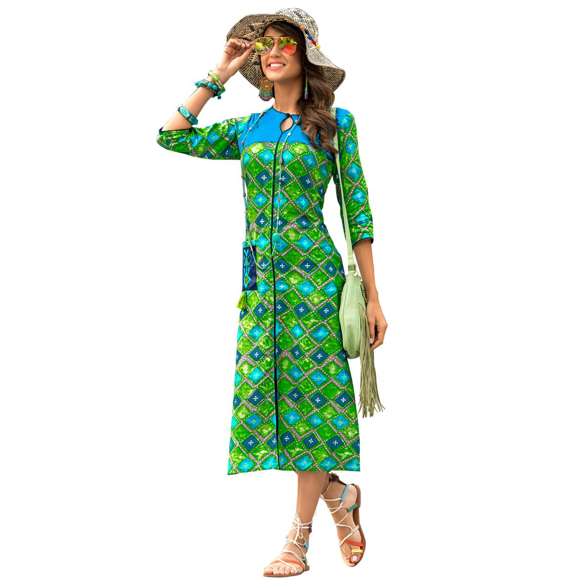 Radiant Green Colored Casual Wear Printed Rayon Kurti