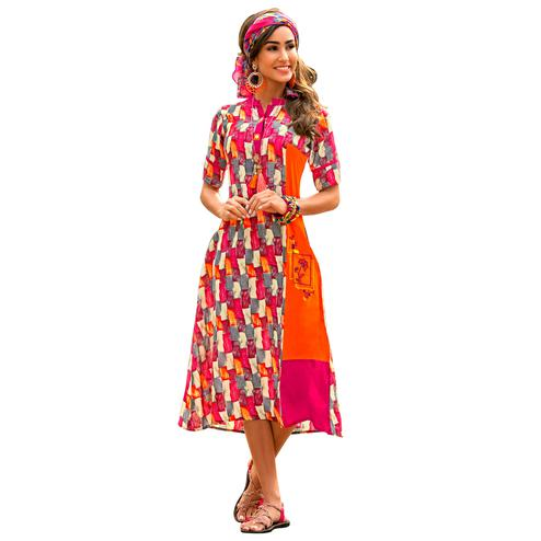 Vibrant Multi- Colored Casual Wear Printed Rayon Kurti