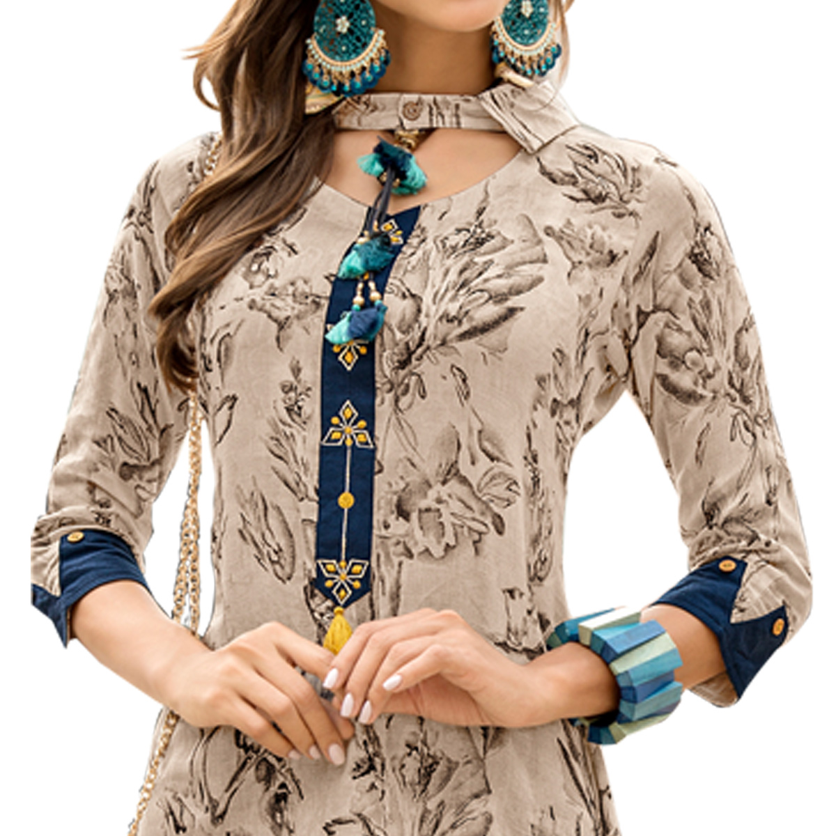 Pretty Grey Colored Casual Wear Printed Rayon Kurti