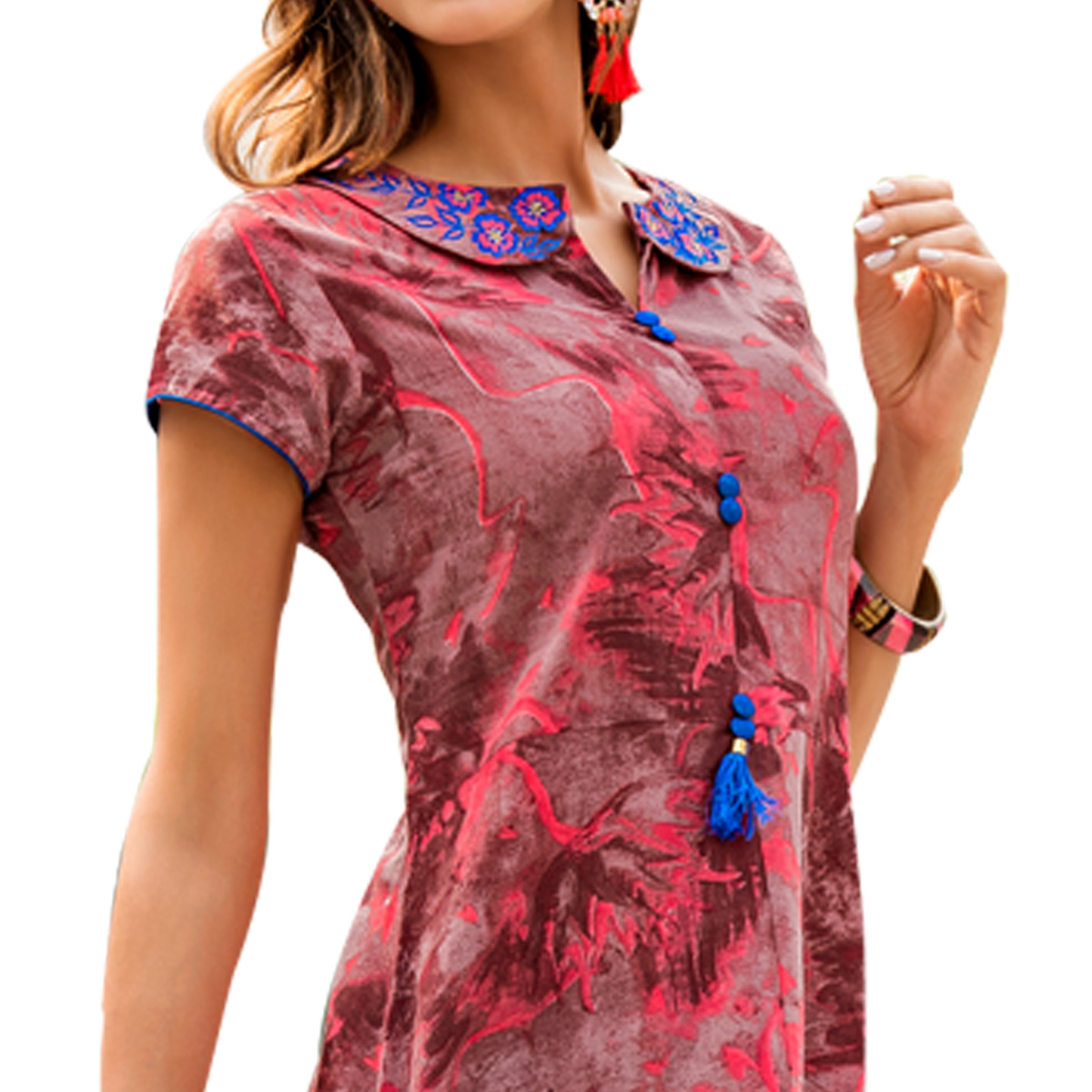 Ravishing Red Colored Casual Wear Printed Rayon Kurti