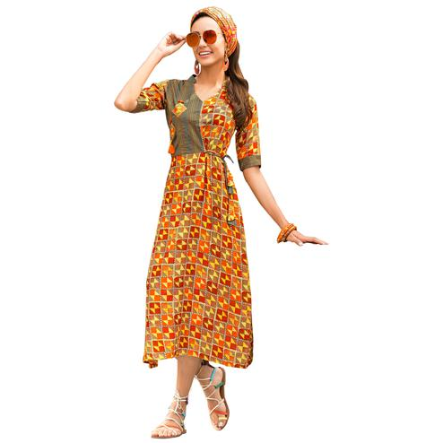 Trend Orange Colored  Casual Wear Printed Rayon Kurti
