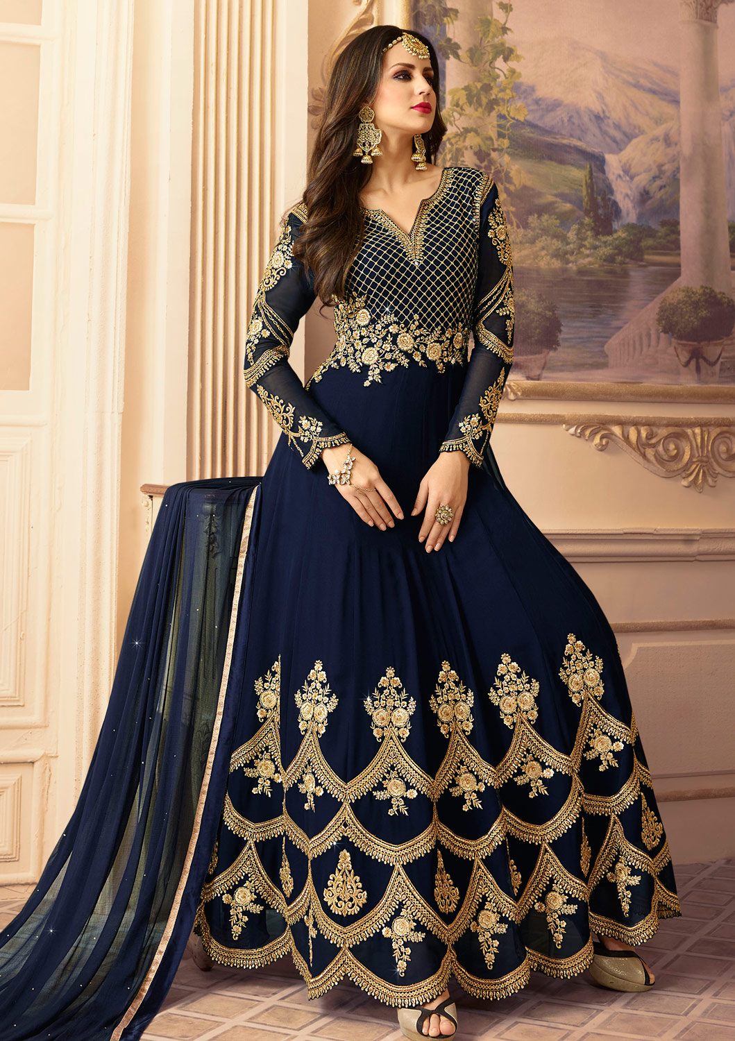 Arresting Navy Blue Colored Designer Partywear Embroidered Georgette Anarkali Suit