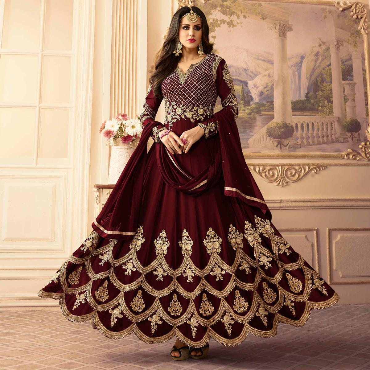 5a4cbe1939 Buy Hypnotic Maroon Colored Designer Partywear Embroidered Georgette  Anarkali Suit for womens online India, Best Prices, Reviews - Peachmode