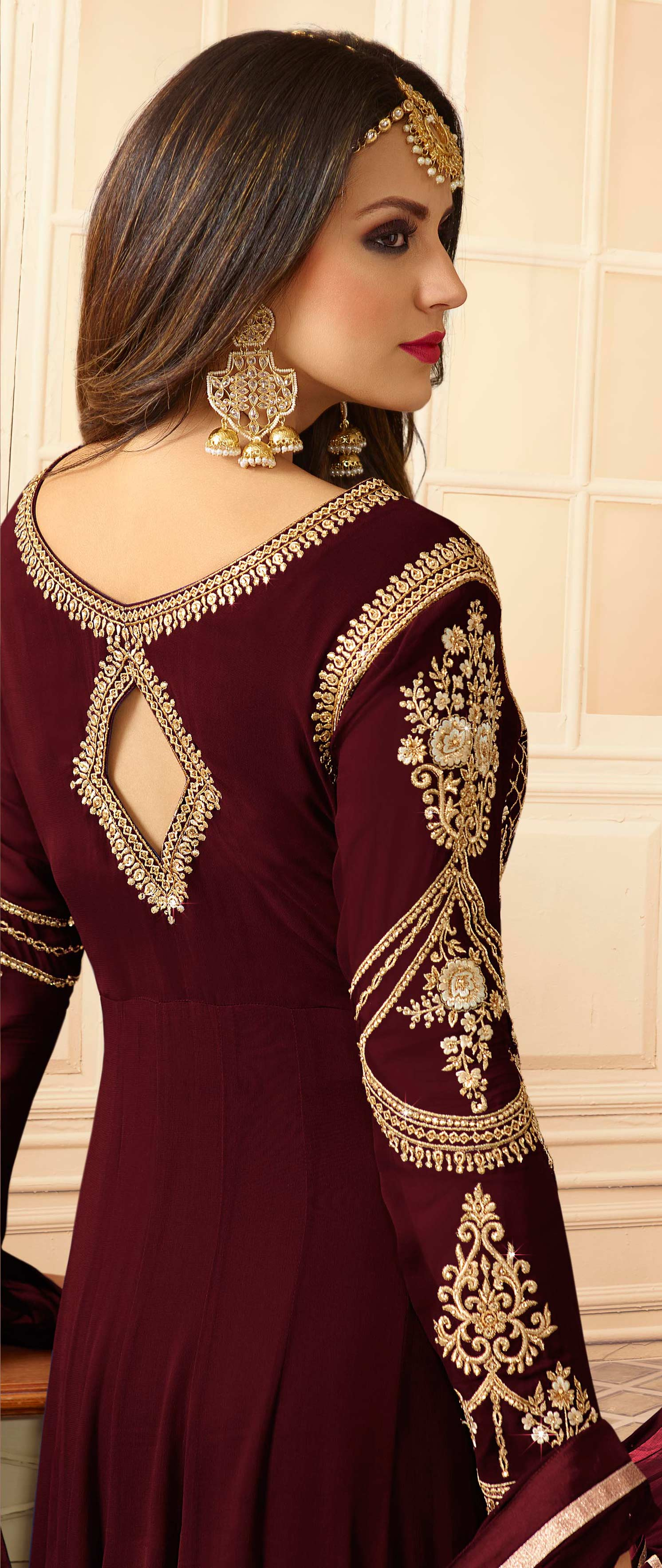 Hypnotic Maroon Colored Designer Partywear Embroidered Georgette Anarkali Suit
