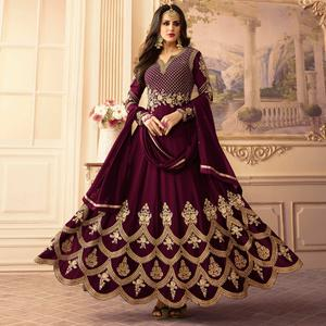 Impressive Purple Colored Designer Partywear Embroidered Georgette Anarkali Suit
