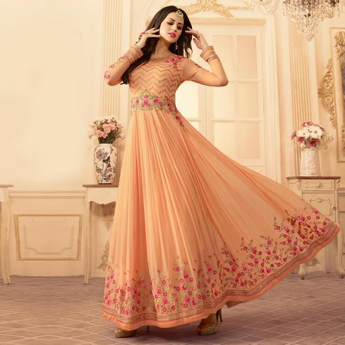 Demanding Peach Colored Designer Partywear Embroidered Georgette Anarkali Suit