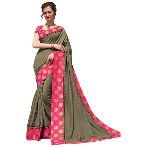 Adorning Olive Green-Pink Colored Festive Wear Silk Saree