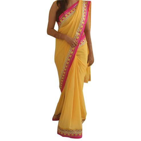 Mesmeric Light Yellow Colored Partywear Georgette Silk Saree