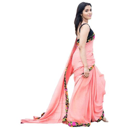 Charming Pink Colored Partywear Georgette Silk Saree